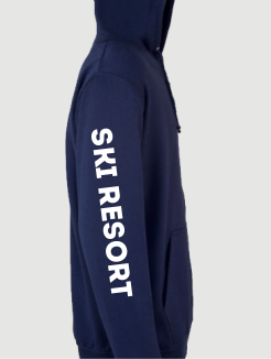 Ski Trip Hoodies - Sleeve Personalisation - Ski Resort Printed on the sleeve