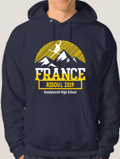 Ski Trip Hoodies - Front Option - Large ski Design on the front