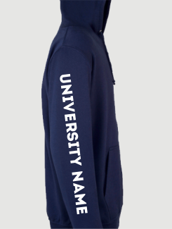 University and society hoodies - Sleeve Personalisation - Printed University Name on Sleeve