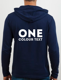 University and society hoodies - rear print - 1 colour text on the rear