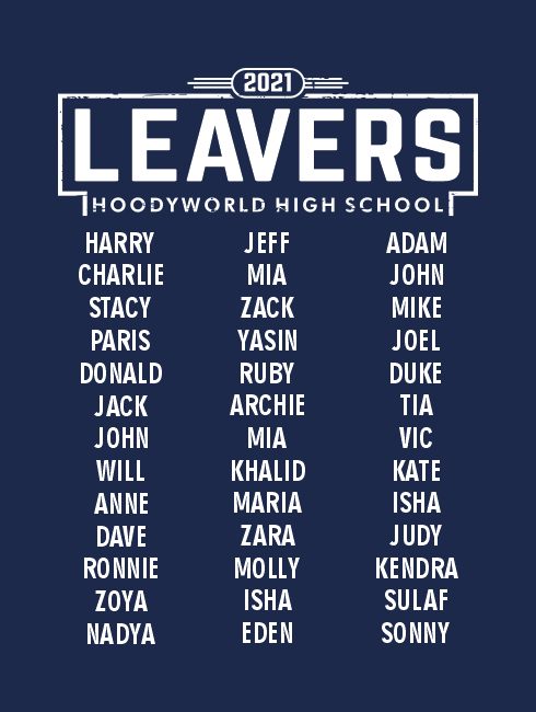 Leavers Hoodies - Leavers Page - Leavers List Design Two