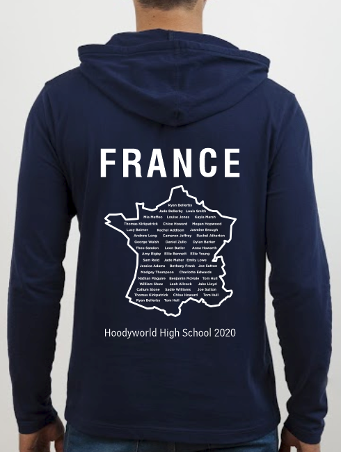 School Trip Hoodies - school trip Designs - France Map Design
