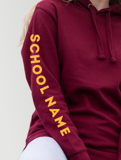 School Trip Hoodies - Sleeve Personalisation - Printed School Name on Sleeve