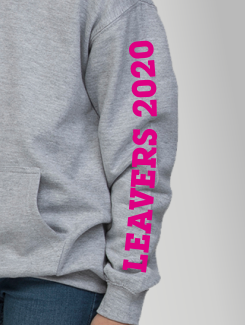 Primary School Leavers Hoodies - Sleeve Personalisation - Printed Leavers text on the sleeve