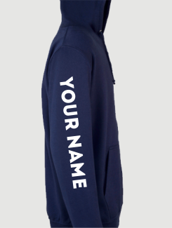 University and society hoodies - Sleeve Personalisation - Printed Name or Nickname On Sleeve