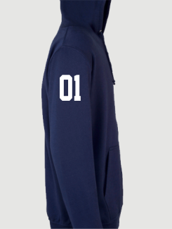 Sports and Team Hoodies - Sleeve Personalisation - Printed Number Sleeve