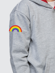 Leavers Hoodies - Sleeve Personalisation - Printed Rainbow on the sleeve