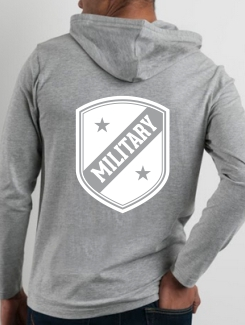 Military Hoodies and Clothing - rear print - One Colour printed logo