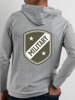 Military Hoodies and Clothing - rear print - Two Colour printed logo