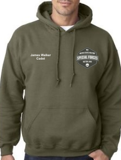 Military Hoodies and Clothing - Front Option - Printed badge and printed name