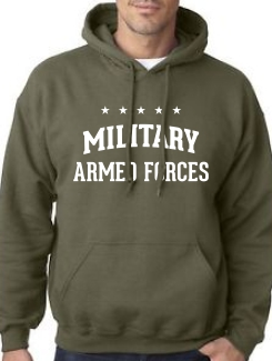 Military Hoodies and Clothing - Front Option - One colour large text print