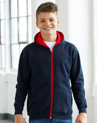 Kids 2 Tone Zipped Hoody