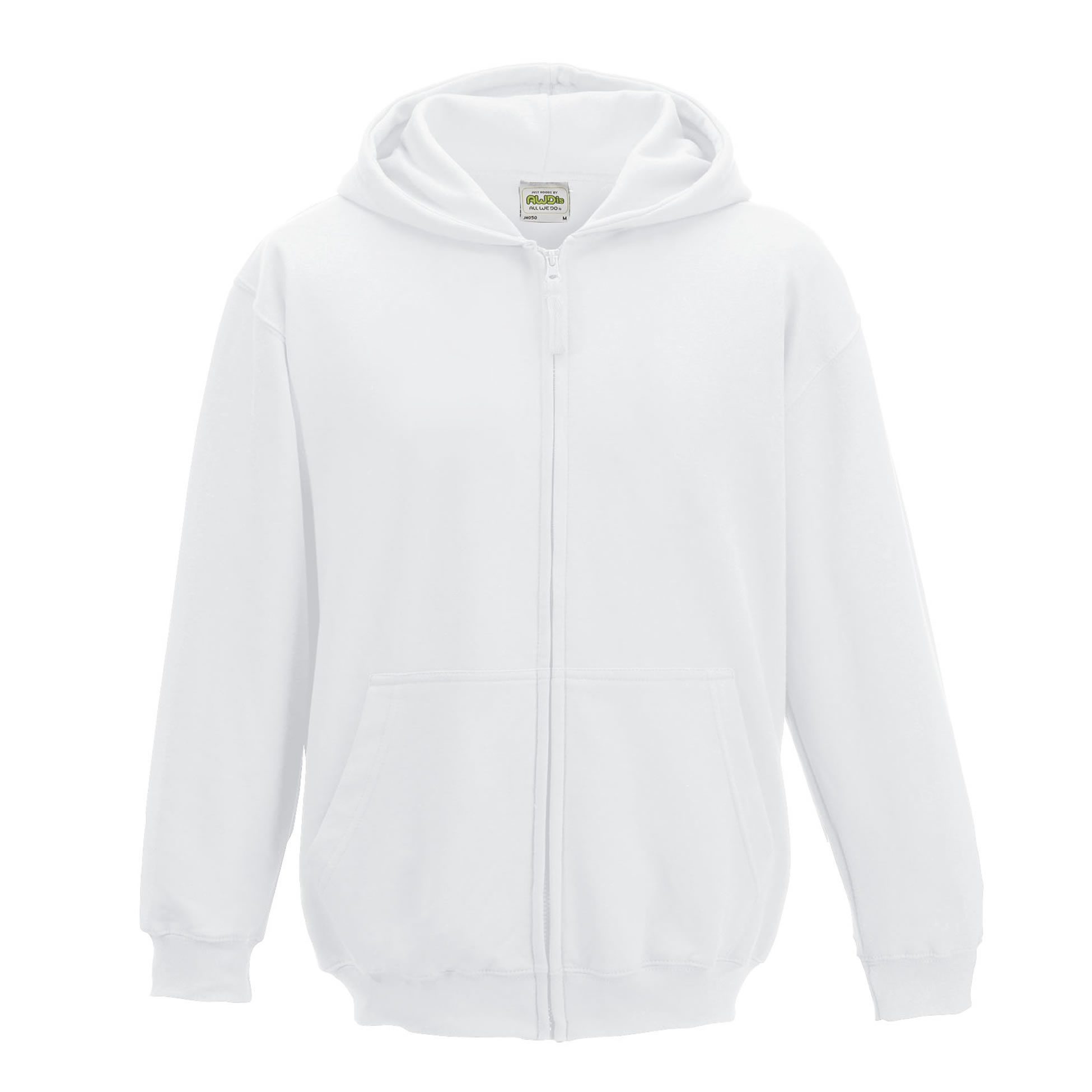 AWDis Zipped Hooded Sweatshirt JH50J Boys Girls Childrens Kids Hoodie Hoody